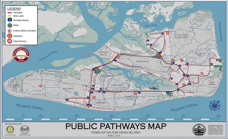 A public map of the bike paths on Hilton Head Island.