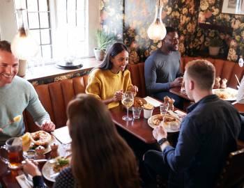 restaurant setting people dining