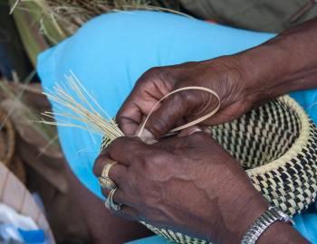 woman's hands making a sweetgrass basket