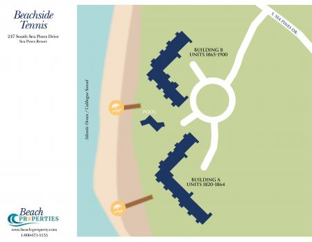 Map of Beachside Tennis Complex Hilton Head Island