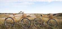 cute bikes with baskets in the sand