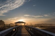 dock fog on hilton head sun rise