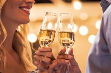new years eve couple with champagne flutes