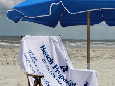 beach properties umbrella chair and towel